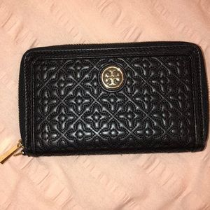 Black Leather Tory Burch Wallet